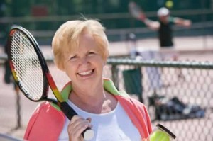 woman with tennis racquet